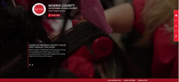 Screen capture of district website homepage